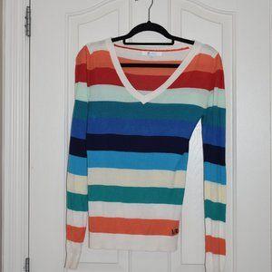 Matix rainbow striped long sleeve sweater v neck
